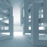 Abstract empty 3d blue modern interior with chaotic cubes Royalty Free Stock Photo