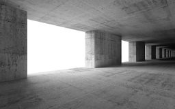 Abstract empty 3d interior with concrete columns. And white glowing windows stock illustration