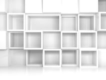 Abstract empty 3d interior with white square shelves. On the wall, front view royalty free illustration