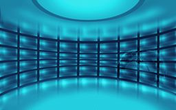 Abstract Empty 3D Studio Space concept series. Abstract Empty 3D Studio Space, blue theme background. 3d Illustration Royalty Free Stock Photography