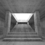 Abstract empty dark concrete interior background. With columns and the stairway going up to the light,  3d render illustration Royalty Free Stock Photos