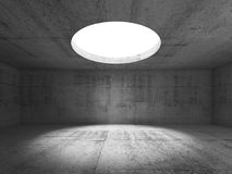 Abstract empty dark concrete interior 3d. Abstract empty dark concrete interior, showroom with round ceiling light window. 3d render illustration Royalty Free Stock Photo