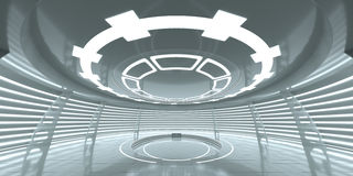 Abstract empty glowing futuristic space station. An empty space for your content. 3D Rendering stock illustration