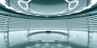 Abstract empty glowing futuristic space station Royalty Free Stock Photo