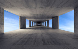 Abstract empty gray concrete interior background. 3d render Stock Photo