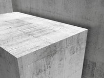 Abstract empty gray concrete interior. Abstract empty concrete interior fragment, contemporary architecture background, 3d illustration Stock Photography