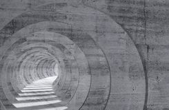Abstract empty gray concrete tunnel interior 3 d. Abstract empty gray concrete tunnel interior with perspective effect. 3d illustration Royalty Free Stock Image