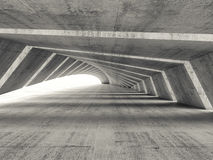 Abstract empty illuminated bent concrete corridor. Interior, 3d render illustration Stock Photo