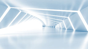 Abstract empty illuminated light blue shining corridor, 3d Royalty Free Stock Images