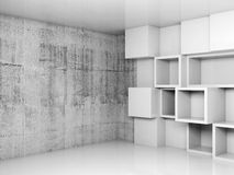Abstract empty interior background with white cubes. Shelves and concrete wall, 3d illustration Royalty Free Stock Photography