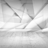 Abstract empty interior background, white room. Abstract empty interior background, white chaotic polygonal relief pattern on the wall and concrete floor. 3d Stock Photography