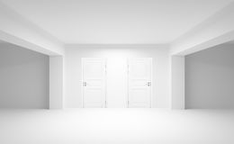 Abstract empty interior with two white doors Stock Photos