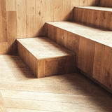 Abstract empty interior, wooden stairs Stock Photos