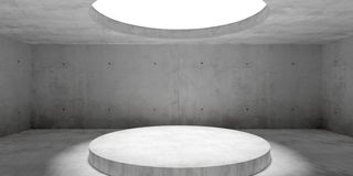 Free Abstract Empty, Modern Concrete Room With Lighting From Circular Window In Ceiling And Platform - Industrial Interior Background Stock Photography - 160371952