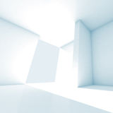 Abstract empty room 3d interior with white walls. And bright beam Stock Image