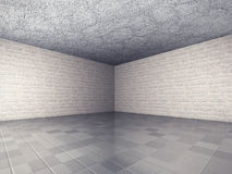 Abstract Empty Room Interior Architecture Background. Brick Wall. S, Tile Floor. 3d Render Illustration Royalty Free Stock Photo