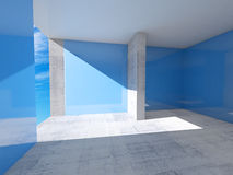 Abstract empty room interior with blue walls. And concrete floor Stock Images