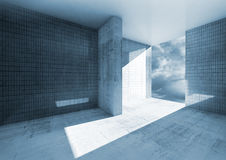 Abstract empty room interior with concrete floor. Abstract blue empty room interior with concrete floor and tile on walls Stock Illustration