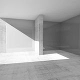 Abstract empty room interior with gray walls 3d. Abstract empty room interior with gray walls and concrete floor, 3d illustration Royalty Free Stock Photography