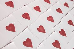 Abstract empty sticky note with heart. Valentine greeting card message. Creative Valentine Day romantic composition royalty free stock images