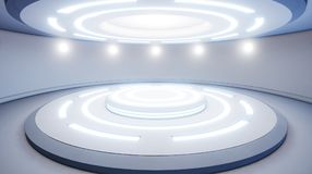 Abstract empty studio with pedestal and blue lighting. Futuristi. C round pedestal or platform for display. Sci-fi concept. 3d render. 3d visualisation stock illustration