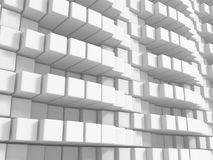 Abstract Empty White Cubes Wall Background. 3d Render Illustration Stock Images