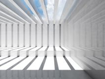 Abstract empty white 3d interior. Room. Abstract empty white interior. Room with ceiling illumination and striped pattern of shadows and light beams, 3d render Royalty Free Stock Photography