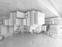 Abstract empty white high-tech room 3d interior. Abstract empty white high-tech interior with chaotic cubes constructions, 3d illustration Stock Image