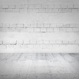 Abstract empty white interior with bricks Stock Photos