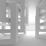 Abstract empty white modern interior fragment. With chaotic cube constructions, 3d illustration Stock Images