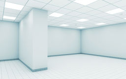 Abstract empty white office room interior 3 d. Abstract empty white office room interior with ceiling illumination and floor tiling, 3d illustration vector illustration