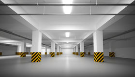 Empty white underground parking interior Stock Images