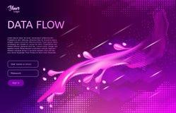 Abstract en creatief concept gegevensstroom Isometrische Vectorillustratie Stock Afbeelding