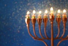 abstract en onscherp beeld van Joodse vakantiechanoeka Stock Fotografie