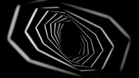 Abstract endless movement of geometrical figures, one by one, forming tunnel on black background, seamless loop stock illustration