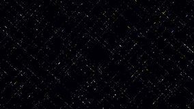 Abstract energy impulses moving straight and crossing each other, creating square field. Animation. Small segments
