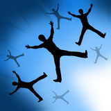 Abstract of Enjoying to jumping with blue backgrou Royalty Free Stock Images