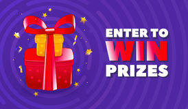 Abstract enter to win banner with illustration of red gifts with ribbon and golden stars decoration. Royalty Free Stock Photos