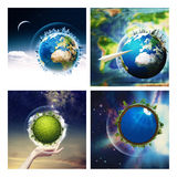 Abstract environmental backgrounds set. With Earth globe for your design. NASA imagery used Royalty Free Stock Photos