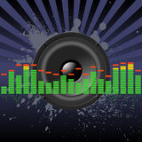 Abstract equalizer. Speaker and equalizer on a grunge splashes Royalty Free Stock Images
