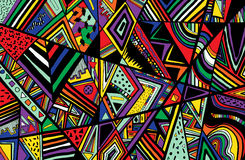 Abstract ethnic background is from different geometric shapes. Vector stock illustration