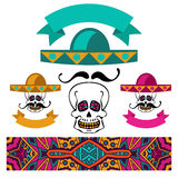 Abstract ethnic festive mexican symbol set. Abstract ethnic colorful banner mexican set skull with mustache and sombrero Royalty Free Stock Image