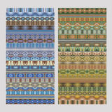 Abstract ethnic geometric vector strip patterns Royalty Free Stock Photo