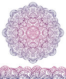 Abstract ethnic mandala, seamless border.Outline Royalty Free Stock Photo