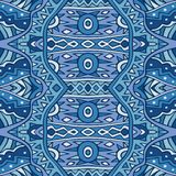 Tribal seamless pattern in blue colors. Abstract ethnic ornament. Repeatable background design. Vector illustration Stock Images
