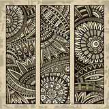 Abstract ethnic pattern card set Stock Images