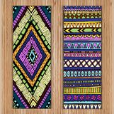 Abstract Ethnic Pattern Cards On Wood Background. Stock Photos