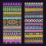 Abstract Ethnic Pattern Cards On Wood Background. Royalty Free Stock Image