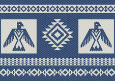 Abstract ethnic pattern with eagles denim background Stock Image