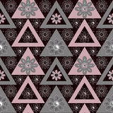Abstract ethnic seamless geometrical pattern bright elements background Stock Images